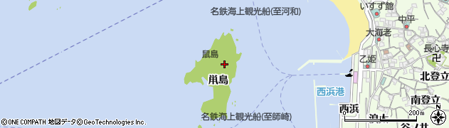 愛知県南知多町(知多郡)日間賀島(鼡島)周辺の地図