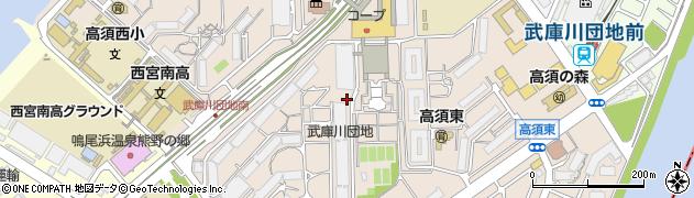 武庫川団地周辺の地図