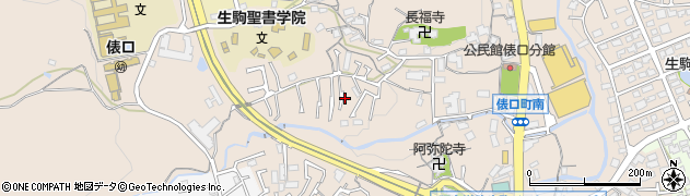 奈良県生駒市俵口町周辺の地図