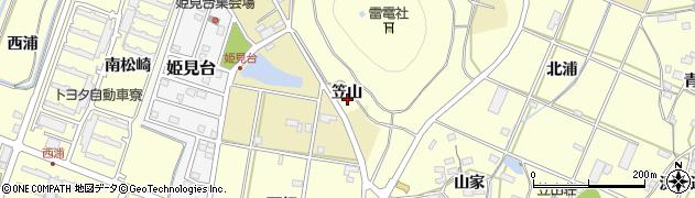 愛知県田原市浦町(笠山)周辺の地図