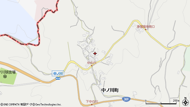 〒630-1124 奈良県奈良市中ノ川町(106〜305、405-3、638)の地図