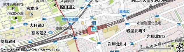 兵庫県神戸市灘区周辺の地図