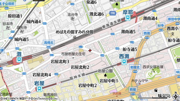 〒657-0846 兵庫県神戸市灘区岩屋北町の地図