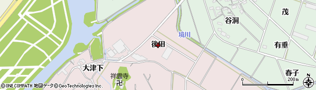 愛知県豊橋市老津町(後田)周辺の地図