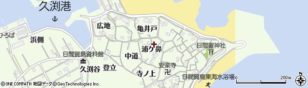 愛知県南知多町(知多郡)日間賀島(浦ケ鼻)周辺の地図