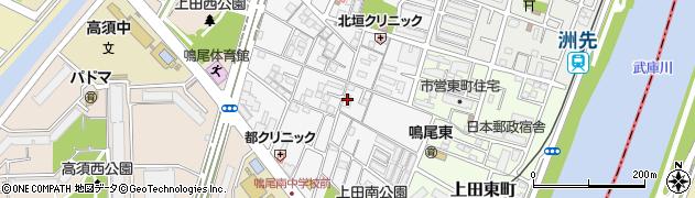兵庫県西宮市上田中町周辺の地図