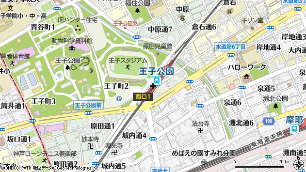 〒657-0838 兵庫県神戸市灘区王子町の地図