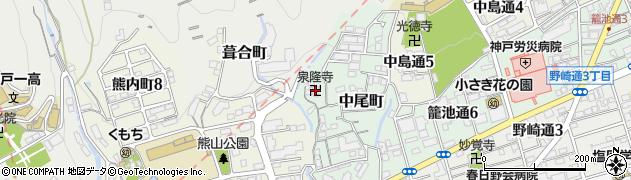 泉隆寺周辺の地図
