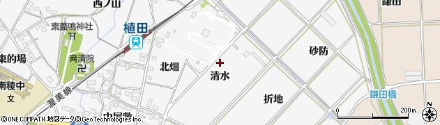 愛知県豊橋市植田町(清水)周辺の地図