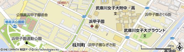 兵庫県西宮市枝川町周辺の地図