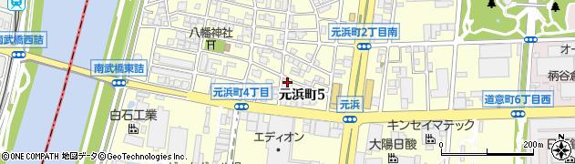 兵庫県尼崎市元浜町5丁目周辺の地図