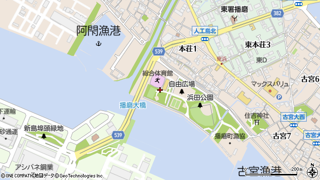 〒675-0154 兵庫県加古郡播磨町本荘の地図