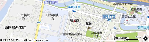 兵庫県尼崎市築地5丁目周辺の地図