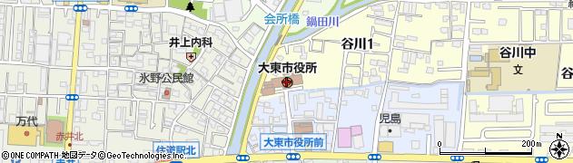 大阪府大東市周辺の地図