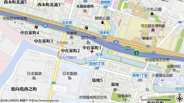 〒660-0851 兵庫県尼崎市中在家町の地図