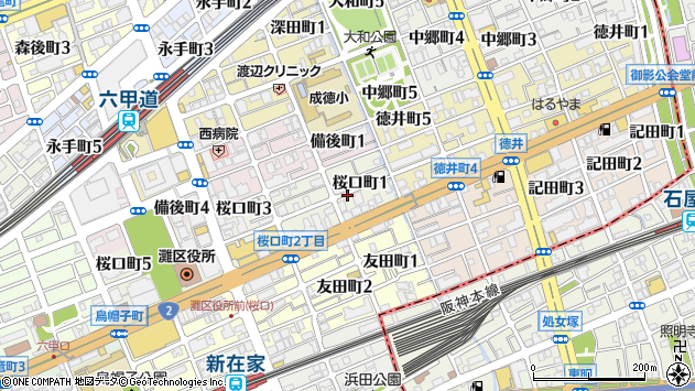 〒657-0036 兵庫県神戸市灘区桜口町の地図