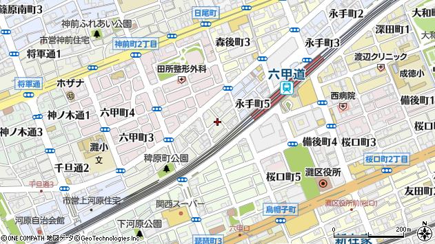 〒657-0054 兵庫県神戸市灘区稗原町の地図