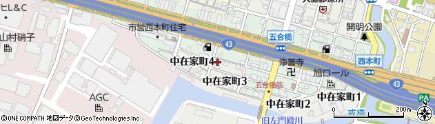 兵庫県尼崎市中在家町3丁目周辺の地図