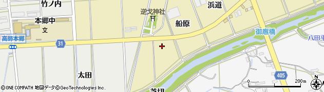 愛知県豊橋市浜道町(船原)周辺の地図