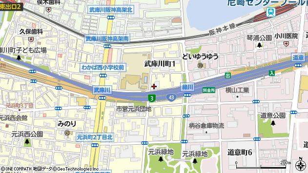 〒660-0084 兵庫県尼崎市武庫川町の地図