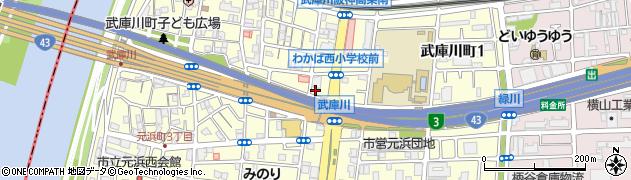 兵庫県尼崎市武庫川町2丁目周辺の地図