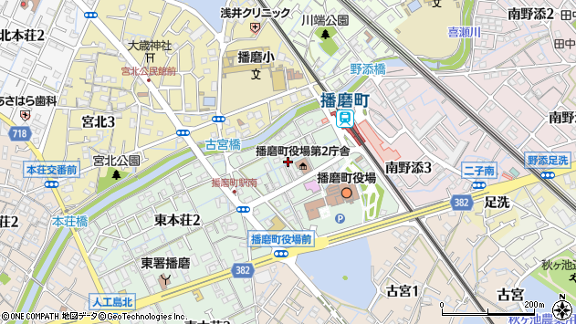 〒675-0156 兵庫県加古郡播磨町東本荘の地図