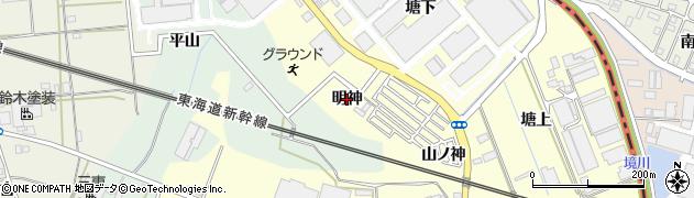 愛知県豊橋市原町(明神)周辺の地図