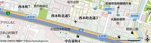 兵庫県尼崎市西本町北通4丁目周辺の地図