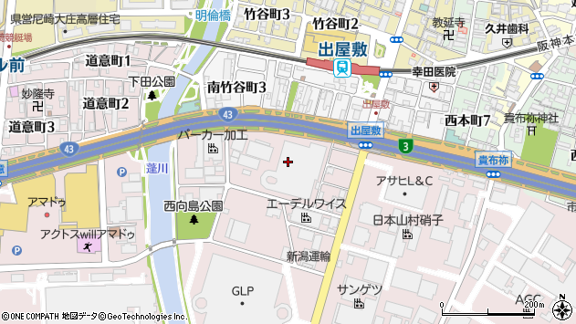 〒660-0857 兵庫県尼崎市西向島町の地図