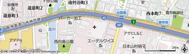 兵庫県尼崎市西向島町周辺の地図
