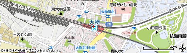 兵庫県尼崎市周辺の地図
