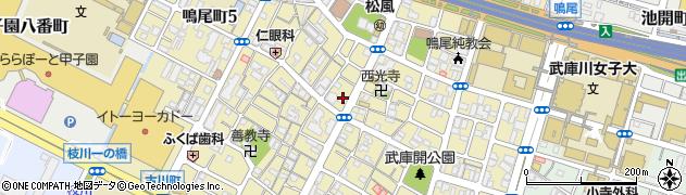 兵庫県西宮市鳴尾町周辺の地図