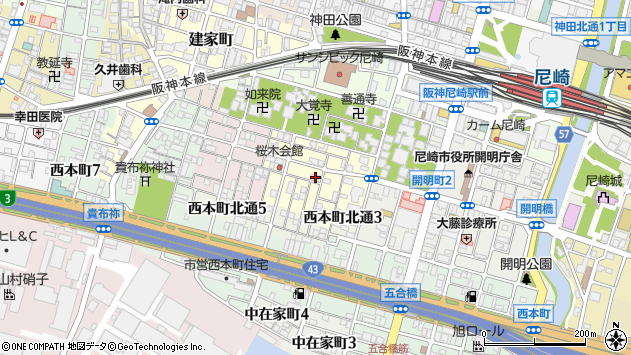 〒660-0864 兵庫県尼崎市東桜木町の地図