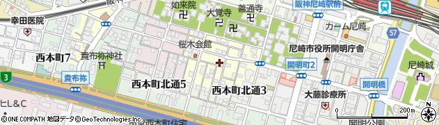 兵庫県尼崎市東桜木町周辺の地図