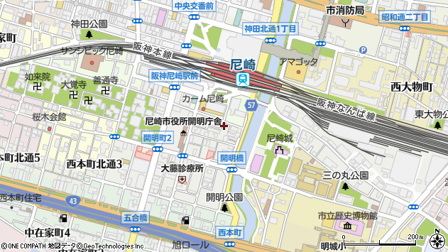 〒660-0862 兵庫県尼崎市開明町の地図