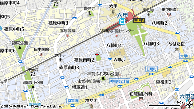 〒657-0059 兵庫県神戸市灘区篠原南町の地図