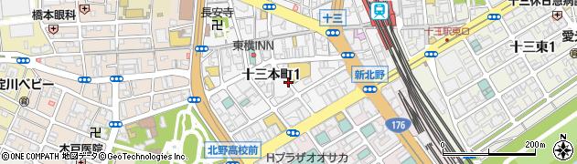 大阪府大阪市淀川区十三本町1丁目周辺の地図