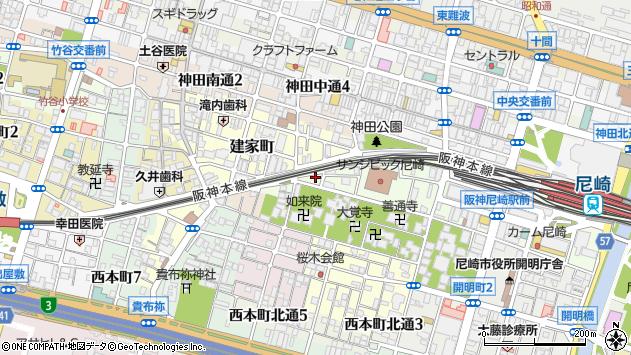 〒660-0868 兵庫県尼崎市西御園町の地図
