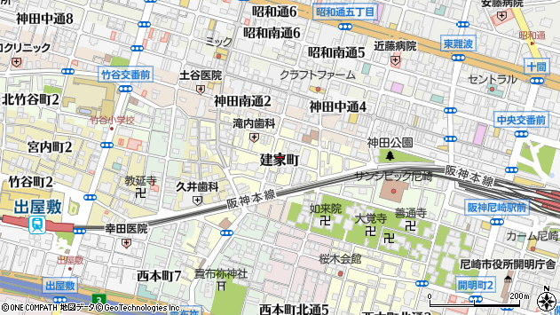 〒660-0871 兵庫県尼崎市建家町の地図