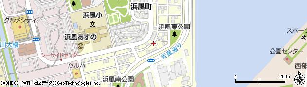 兵庫県芦屋市浜風町周辺の地図
