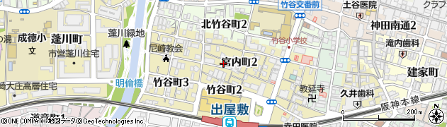 兵庫県尼崎市宮内町2丁目周辺の地図