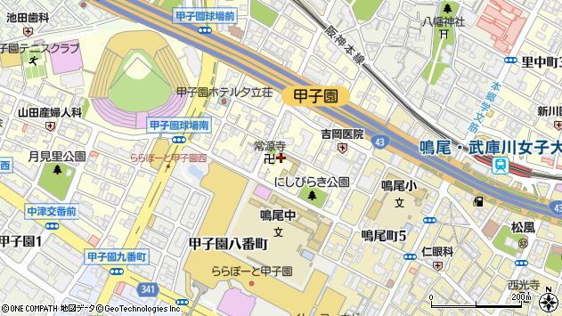 〒663-8177 兵庫県西宮市甲子園七番町の地図