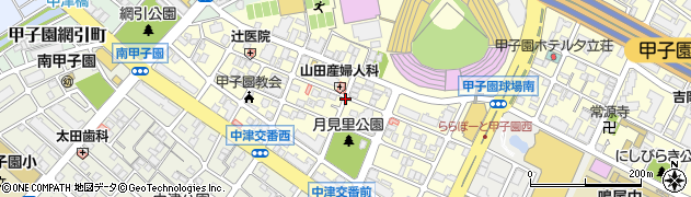 兵庫県西宮市甲子園町周辺の地図