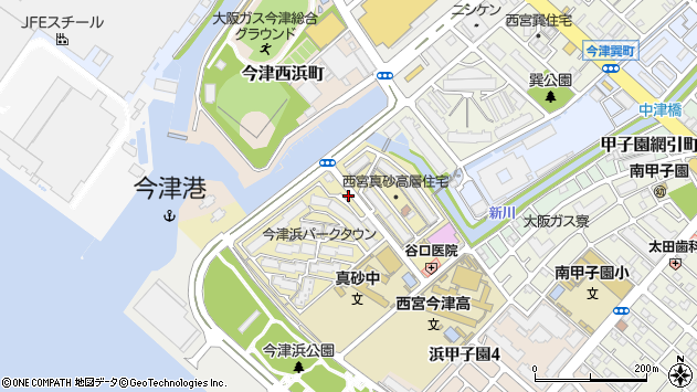 〒663-8224 兵庫県西宮市今津真砂町の地図