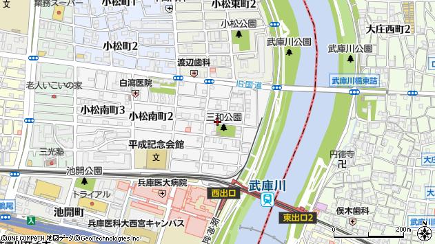 〒663-8124 兵庫県西宮市小松南町の地図