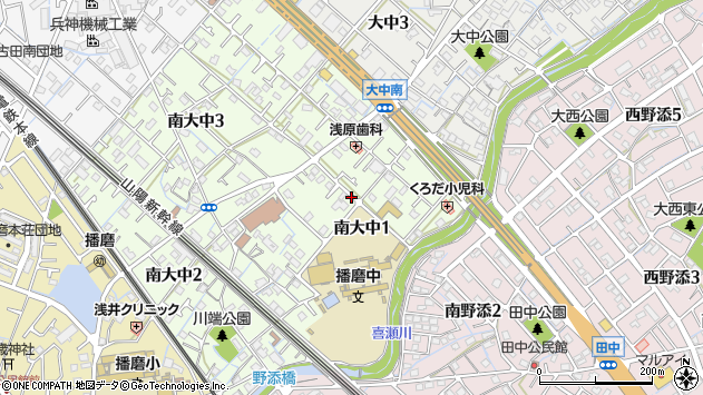〒675-0147 兵庫県加古郡播磨町南大中の地図