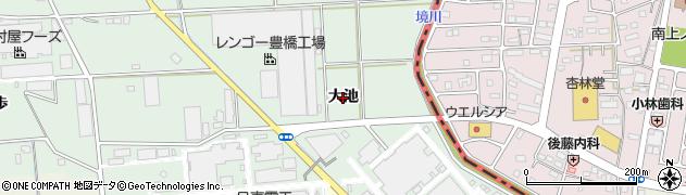 愛知県豊橋市中原町(大池)周辺の地図