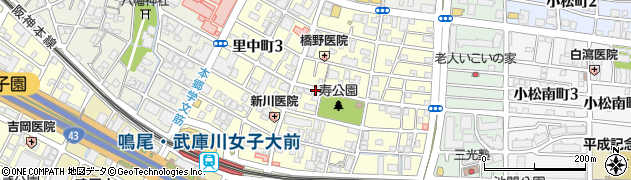 兵庫県西宮市里中町周辺の地図