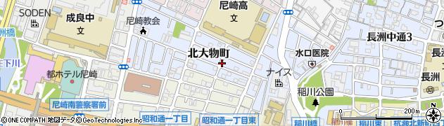 兵庫県尼崎市北大物町周辺の地図