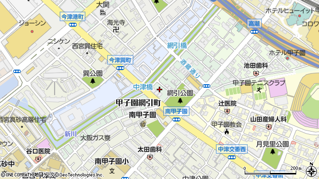 〒663-8156 兵庫県西宮市甲子園網引町の地図